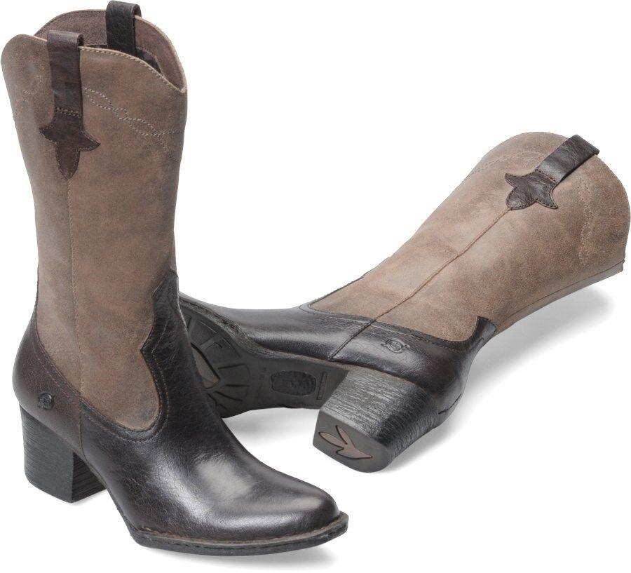Women's Born Mid Zip Boot Western Boot Zip Sonoma Brown Ebony / Antracite D08423 542963