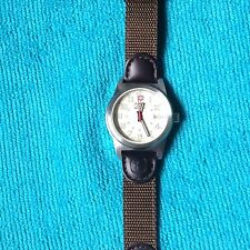 Wenger Swiss Military 7292X Field Watch Brown Band Beige Face EUC