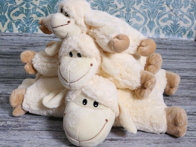 SET 2in1 Cute Sheep Pillow Cushion Cuddly Soft Plush Toy, Super Soft Feel, All 3