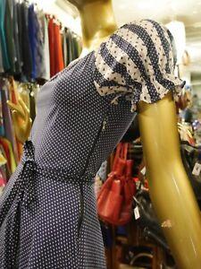 Vintage Summer Dress Folklore Blue Dots True 70s Sleeve Dots Puff Dress Dress Xs UxwnvCOqHq