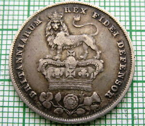 GREAT-BRITAIN-GEORGE-IV-1826-ONE-SHILLING-SILVER-PATINA