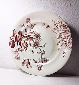 ANTIGUO PLATO DE LOZA FRANCÉS TERRE DE FER S&G FLOWERS CON PEDESTAL. ART NUVEAU
