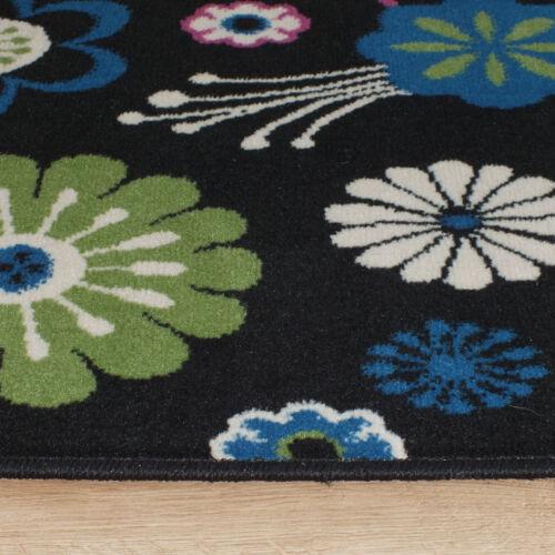 Large Austin Floral Rug Rug In Black Cerise Cream Green /& Blue 1.2m X 1.7m