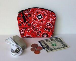 Red Bandana Zipper Pouch Western Coin Pouch