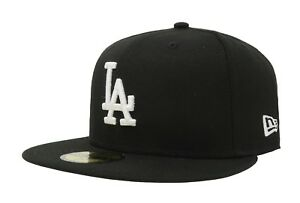 953816c4c68064 New Era 59Fifty Cap Los Angeles Dodgers MLB Basic Black White Fitted ...