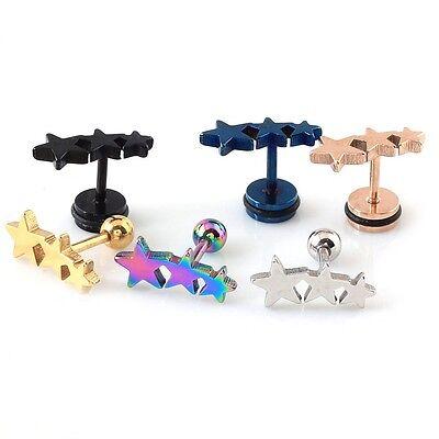 2pc Titanium Steel Three Triple stars Cartilage Piercing Men Women stud Earrings