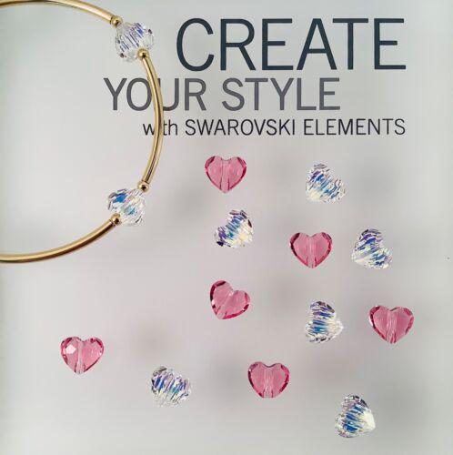 Crystal AB or Rose Swarovski® Crystal 6 pc. 8mm #5741 Heart 'Love Bead'