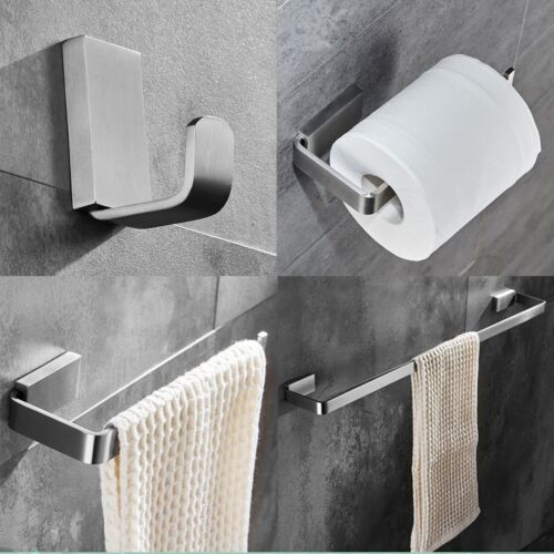 ELLOALLO Brushed Nickel Bathroom Accessories Set,Stainless Steel Towel Bar Wall