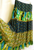 Gypsy Boho 4 Tiered Ruffle Semi-Sheer Floral Skirt XL  2XL Blue Green Yellow New