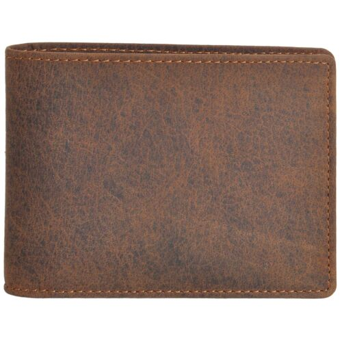 Diloro Men/'s Slim Pocket Leather Bifold Travel Leather Wallet Buffalo Brown 1712