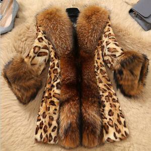 Fashion-Women-Ladies-Faux-Collar-Leopard-Medium-Warm-Long-Coat-Jacket