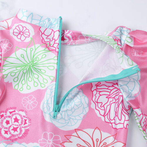 Baby Girls Long Sleeves Swimwear Floral Ruffle Swimsuit Rash Guard Bathing Suits