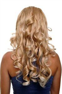 Clip-In-Postiche-7-Attache-3-4-Perruque-Moitie-Blond-Mix-Boucles-H9503-27T88