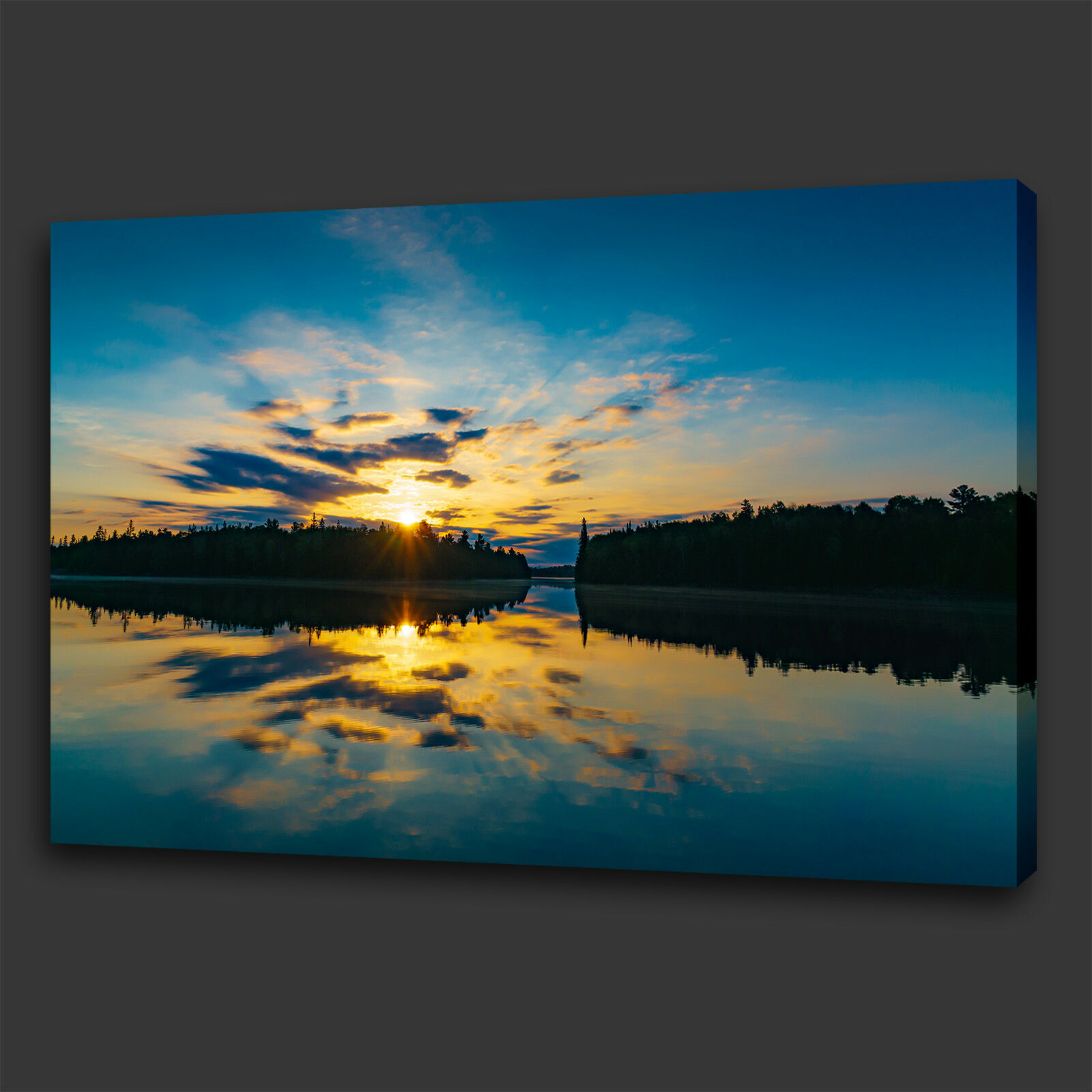 Blu Giallo calma rilassante SUNSET LAKE Scatola Tela Stampa Wall Art Picture Foto