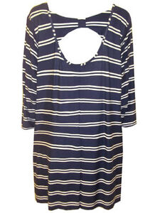 Ladies-Plus-size-Navy-Stripe-Bow-Back-Tunic-Top-by-Marina-Kaneva-SIZE-16-32