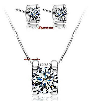 Honest 925 Sterling Silver Necklace Earring Set Made With Swarovski Crystals N112xe93 Engagement & Wedding