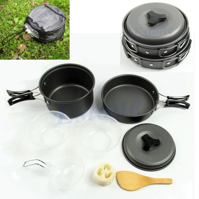8Pcs/ Set Portable Outdoor Cooking Camping Hiking Cookware Picnic Bowl Pot Pan