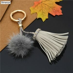 Mink Fur Handbag Charm PU Leather Tassel Key Chain Fur Ball Bag ... 455b1bf9d4dbd