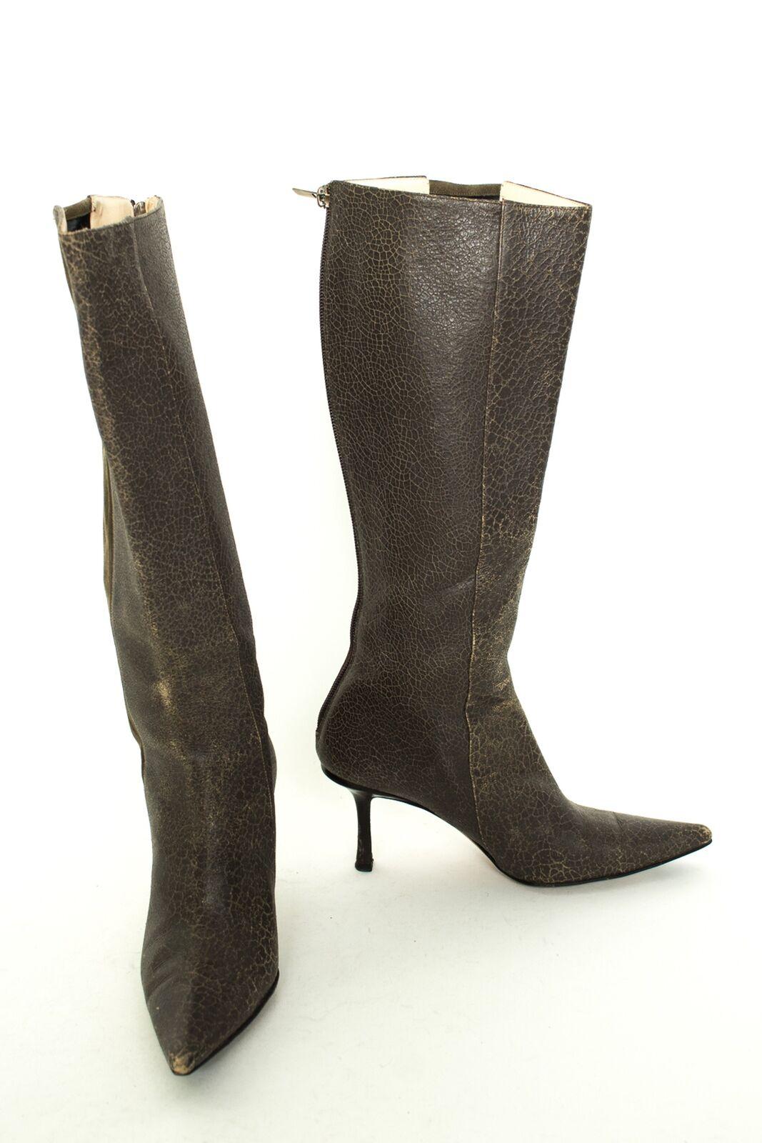 JIMMY CHOO Stiefel Gr. EU37,5 Damen Schuhe Stiefel High Heels Braunoliv Leder     Hochwertige Materialien