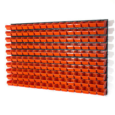 Set 150 contenitori IN-Box + 6 pannelli a parete, per dadi viti officina garage