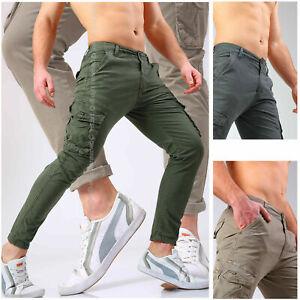 Pantaloni-uomo-cargo-tasche-laterali-slim-jeans-tasconi-militari-corti-estivi