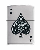 Zippo vintage Ace Of Spades Lighter, Brushed Chrome Finish 8897