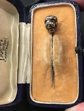 Antique Silver Dog Head Stick Pin
