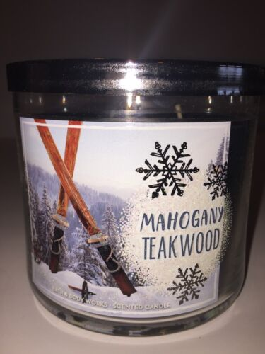 Bath /& Body Works MAHOGANY TEAKWOOD 3 Wick Candle LARGE