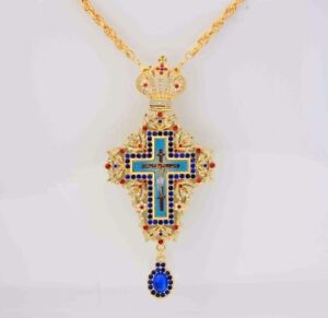 Details about Rhinestones Pectoral Greek Orthodox Cross Pendant Episcopal