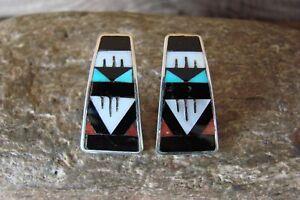 Zuni-Sterling-Silver-Jet-Multistone-Inlay-Post-Earrings