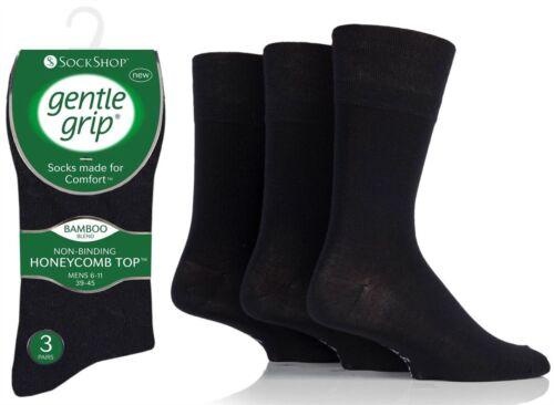 Mens Gentle Grip® Bamboo Blend Socks UK 6-11 SOMRM01H3 Plain Black Uk New Lot