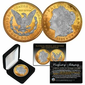 1921-Original-AU-MORGAN-SILVER-Dollar-PLATINUM-amp-24KT-GOLD-Layered-w-BOX-amp-CERT