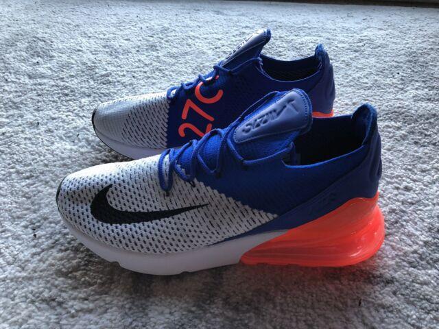 b424461267 Nike Men's Air Max 270 Flyknit Shoes AO1023-101 White/Blue/Orange Size