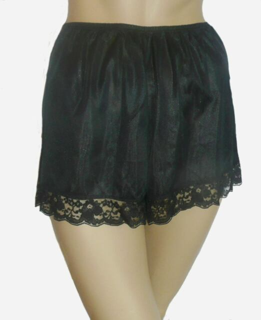 b55eedaf3769 Black French Knickers Size 10/12 Deep Lace Trim Textured Satin Vintage Style  New