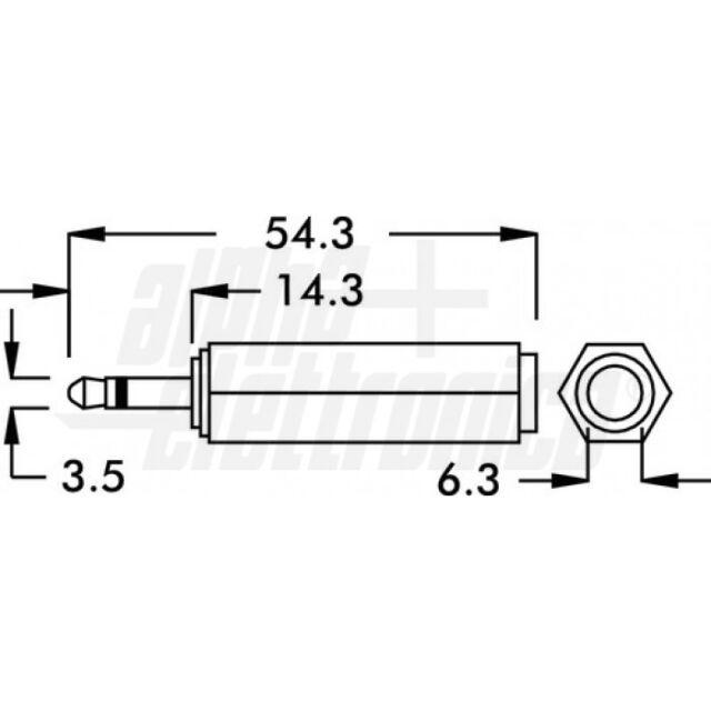 Gurt-Pin-Einbaubuchse MONO 6,3mm auf 2,5mm// End Pin Jack