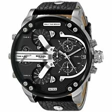 New Diesel DZ7313 Mr. Daddy 2.0 Black Leather Chronograph Men Wrist Watch Box