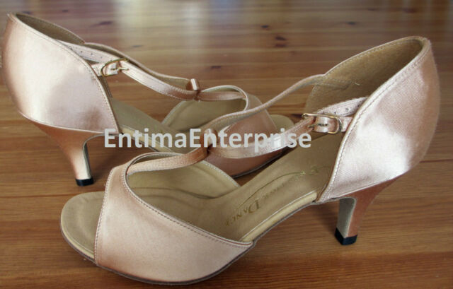Women's Latin Ballroom Salsa Tango Dance Shoes Ladies Dancing Satin L201Flesh2.5
