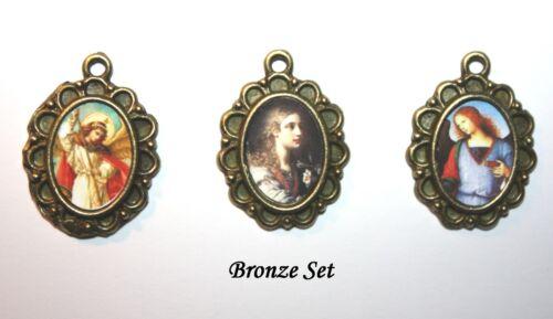 Three Archangel Medal SetSt Michael Gabriel RaphaelSilver Bronze or Gold
