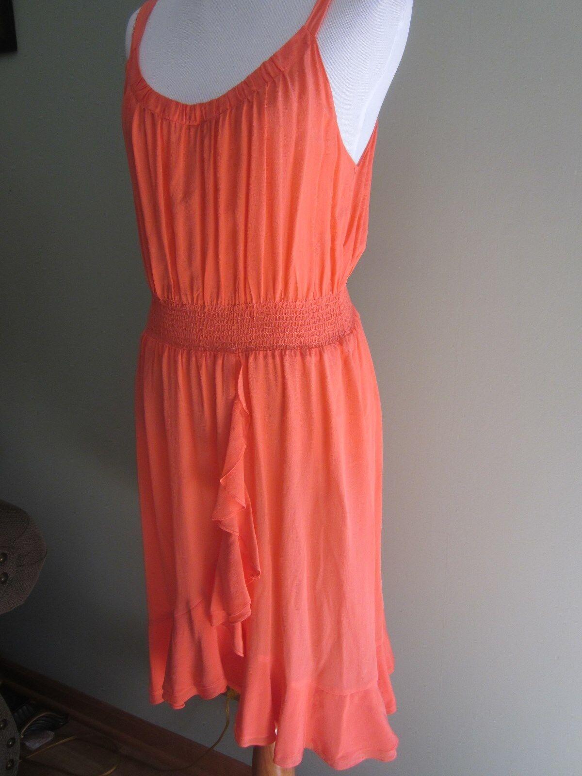 REBECCA TAYLOR SILK RUFFLE CORAL orange DRESS Size 6