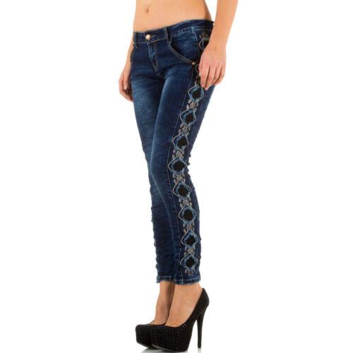 Damen Destroyed Spitzen Skinny Jeans 7251 Ital-design