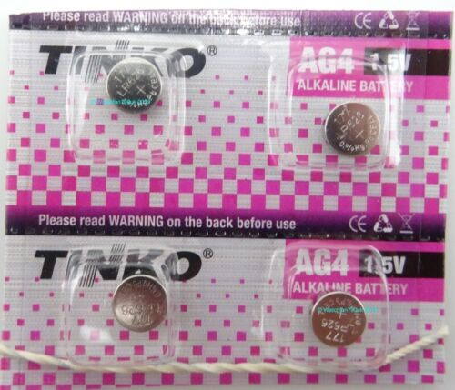 4 x Tinko 1.55v Alkaline Batteries AG4 SR626SW LR626 LR66 Fits Casio MQ24