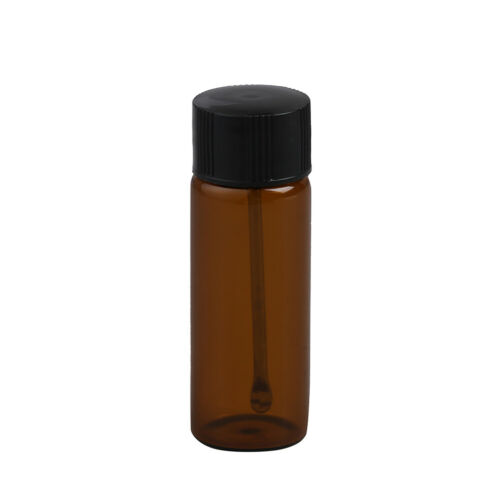 Transparent brown small glass bottle with snuff spoon pill box sniffer HV