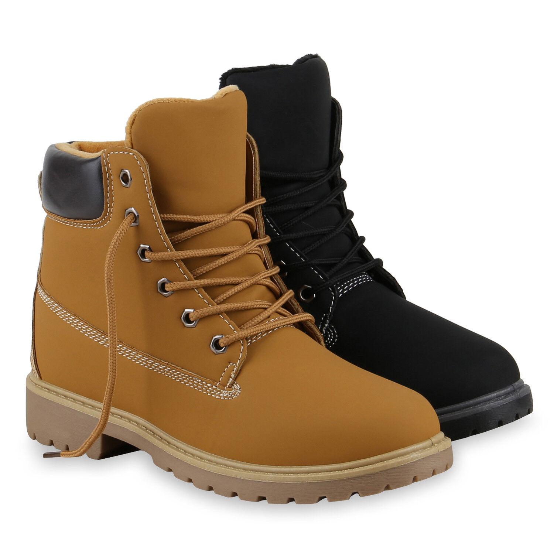 Damen Stiefeletten Outdoor Worker Boots Schnürstiefel 813691 Schuhe