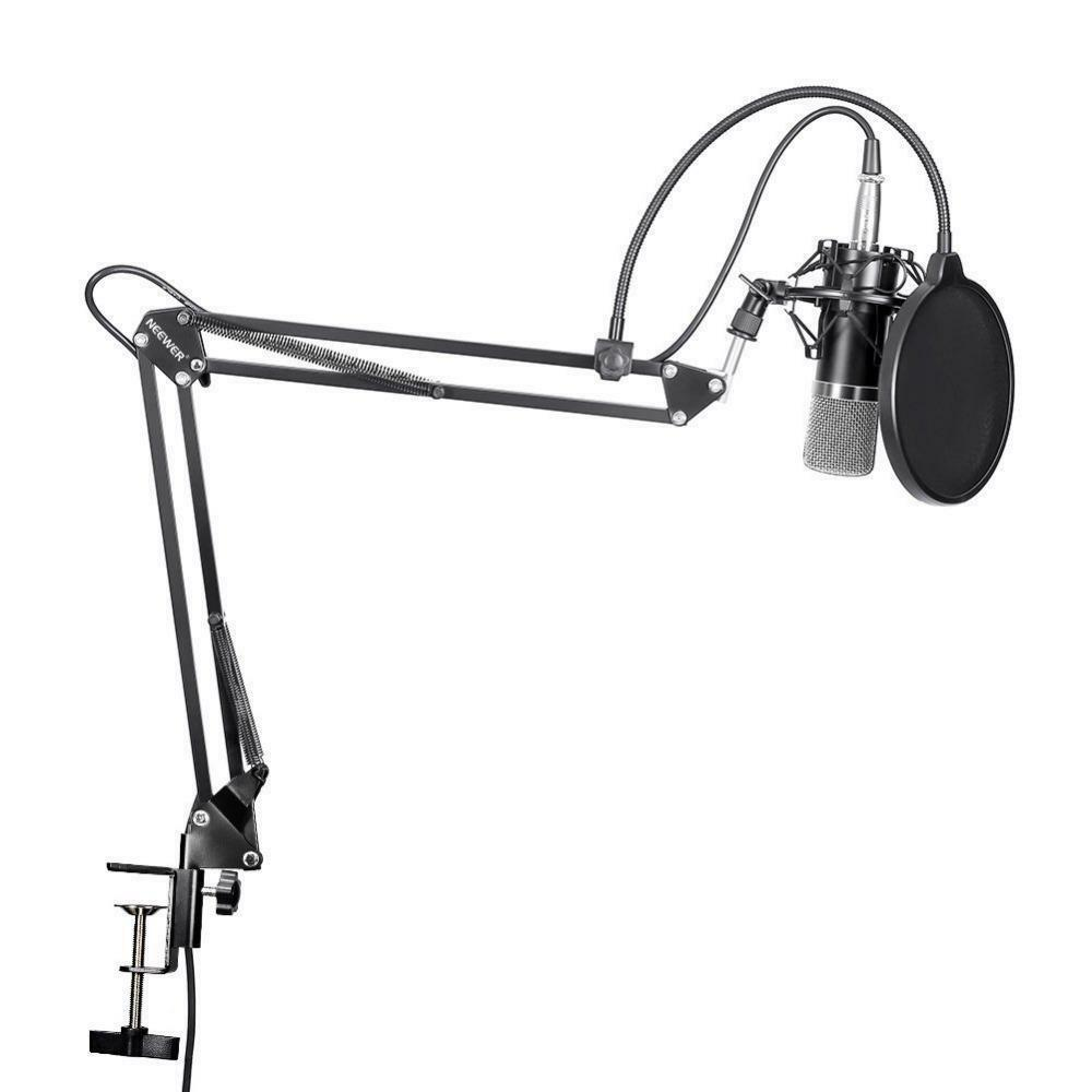 Professional Condenser Microphone Scissor Arm Stand Mounting Clamp Pop Filter