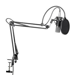 Professional-Condenser-Microphone-Scissor-Arm-Stand-Mounting-Clamp-Pop-Filter