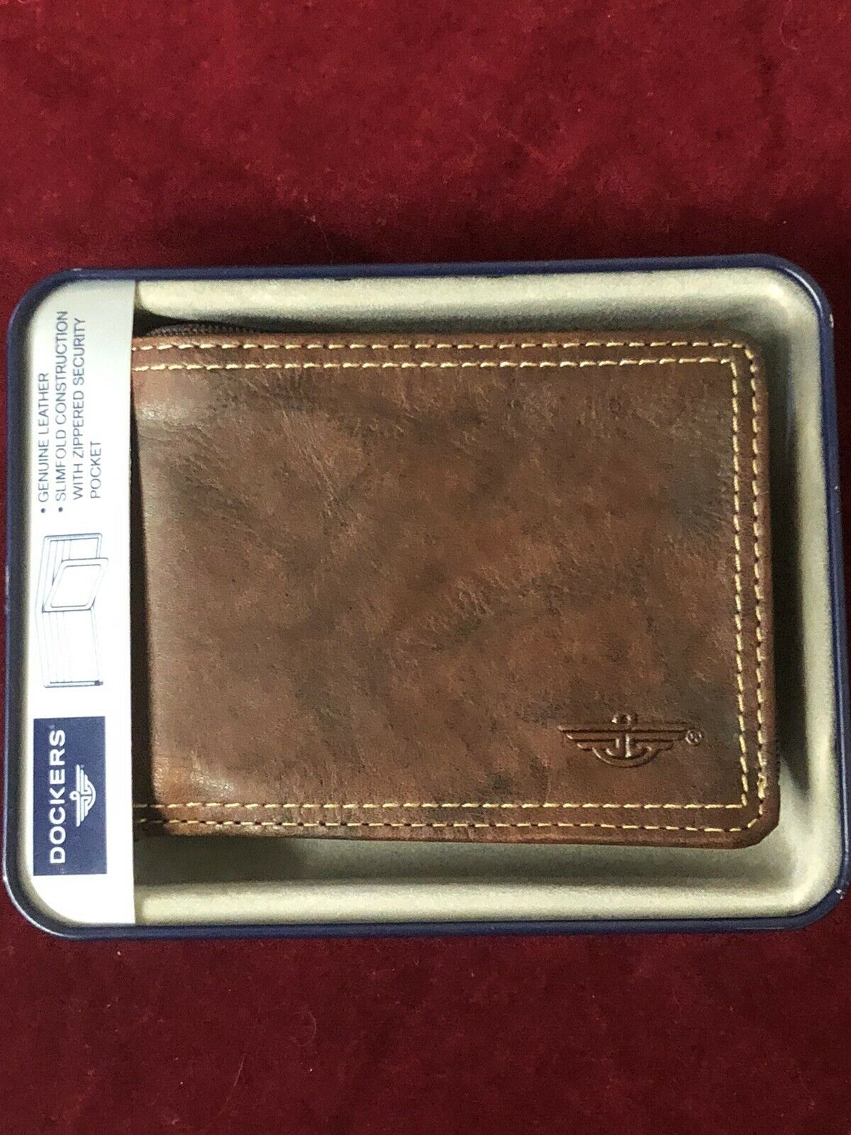Dockers Men's Wallet, Brown Leather Bifold, New in Box, Divided Currency Pocket