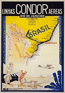 BRAZIL RIO DE JANEIRO RETRO POSTER PRINT A5 A4 A3 A2 A1 PHOTO TRAVEL ART