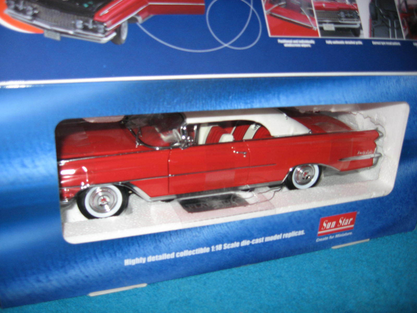 Rosso 1959 OLDSMOBILE  98  CLOSED CONV. 1:18 SUN STAR OPENING HOOD DOORS TRUNK