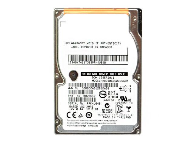 "IBM HITACHI HUC106060CSS600 ULTRASTAR C10K600 600GB 2.5"" 10K 64MB SAS HARD DRIVE"