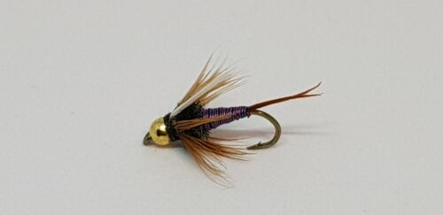12QTY TB HOTWIRE PRINCE BLUE//RED FLY Fishing Flies size14